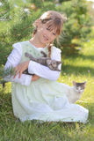 Girl with cats royalty free stock images