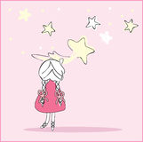 Girl caught the falling star. Vector illustration of girl caught the falling star Royalty Free Stock Photography