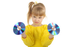 Girl With Cd Stock Photos