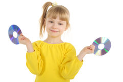 Girl With Cd Royalty Free Stock Image