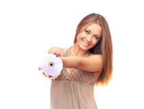 Girl and CD. Smiling girl in white background holding CD Stock Images