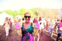 Girl celebrate holi festival. Fun on holiday Royalty Free Stock Photo