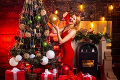 Girl celebrate new year decorating christmas tree. Sexy girl red dress celebrate merry christmas. Christmas celebration royalty free stock photos