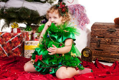 Girl celebrates Christmas Stock Photography