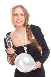 Girl celebrates Christmas with a glass of wine. Studio shooting Royalty Free Stock Photography