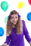 Girl celebrates his birthday - crazy funny woman Royalty Free Stock Photos