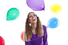 Girl celebrates his birthday - crazy funny woman Stock Photo