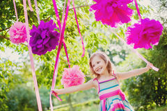 Girl celebrating birthday in park Royalty Free Stock Photos