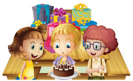 A girl celebrating her birthday with her friends Royalty Free Stock Photography