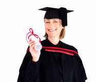 Girl celebrating success after graduation Royalty Free Stock Photos