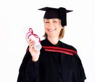 Girl celebrating success after graduation. Attractive girl celebrating success after her graduation royalty free stock photos