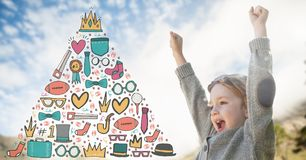 Girl celebrating under the sky with winning graphics in triangle Royalty Free Stock Photography