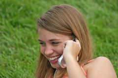 Girl on Cell Phone Stock Images