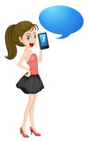 A girl with cell phone. Illustration of a girl with cell phone on a white Royalty Free Stock Photos