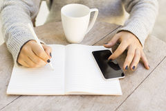 Girl with cell phone and diary Stock Photos