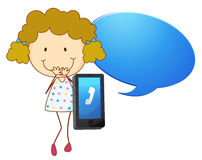 A girl with cell phone. Illustration of a girl with cell phone on a white Stock Image
