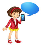 A girl with cell phone. Illustration of a girl with cell phone on a white Royalty Free Stock Images