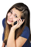 Girl with cell phones Stock Photography