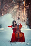 Girl with cello Stock Photo