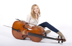 Girl with cello Stock Photography