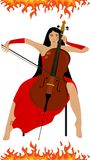 Girl and cello fire. Illustration of a beautiful girl who plays the cello Royalty Free Stock Photo