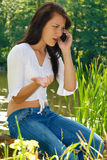 Girl on cellphone Royalty Free Stock Photos