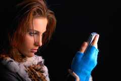Girl with cellphone Stock Photography