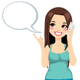 Girl Cellphone Conversation. Young girl having a conversation using her smartphone with a speech bubble vector illustration