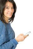 Girl with a cellphone on her hand Royalty Free Stock Image