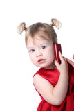 Girl with cellular. Funny little girl with cellular Stock Photos