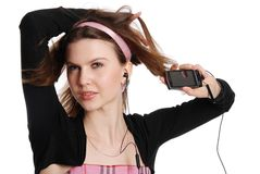 The girl with a cellular telephone Royalty Free Stock Image