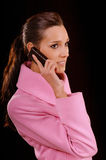 Girl with cellular telephone Stock Photos