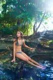 Girl in Cenote at Riviera Maya of Mexico. Girl bath in Cenote sinkhole at Riviera Maya of Mayan Mexico stock photo
