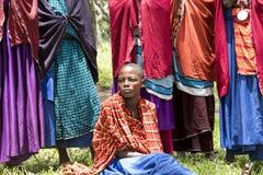 Girl in ceremonial dress, Maasi Village, Ngorongoro Conservation Royalty Free Stock Photography