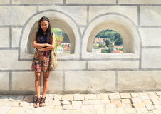 Girl in Cesky Krumlov Royalty Free Stock Photos