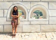 Girl in Cesky Krumlov Royalty Free Stock Photos