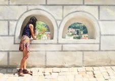 Girl in Cesky Krumlov Stock Photos