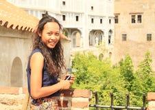 Girl in Cesky Krumlov Royalty Free Stock Photo