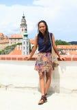 Girl in Cesky Krumlov Stock Photo