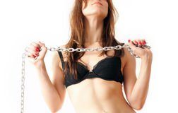 Girl with chain Royalty Free Stock Image
