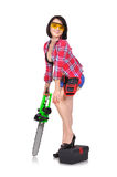 Girl with chainsaw Royalty Free Stock Photos