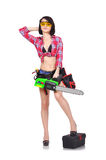 Girl with chainsaw Stock Photos