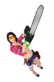 Girl with chainsaw Royalty Free Stock Photo