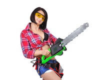 Girl with chainsaw Stock Images