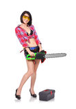 Girl with chainsaw Royalty Free Stock Photography