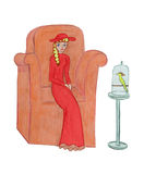The girl in the chair. Children's artwork Stock Photo