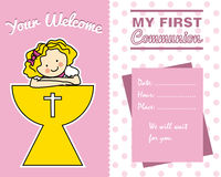Girl with a chalice. My first communion. Girl with a chalice Royalty Free Stock Photos