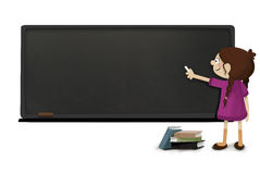 Girl with chalk in hand writing on a blackboard . Class at school. Concept poster or notice where to write something that catches attention vector illustration
