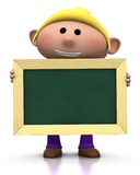 Girl with chalkboard. 3d rendering/illustration of a cute cartoon girl holding a chalkboard in front of him Royalty Free Stock Photo