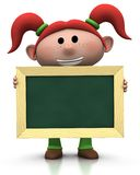 Girl with chalkboard. 3d rendering/illustration of a cute cartoon girl with red pigtails holding a chalkboard in front of her Royalty Free Stock Images